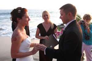 Orange Co Laguna Beach wedding ceremony at Divers Cove Picnic Terri Linzmeier officiant