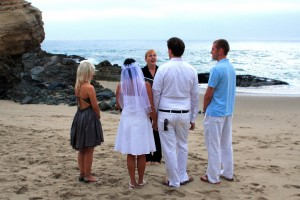 Orange County Laguna Beach wedding in the sand at Table Rock Terri Linzmeier officiate