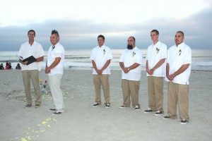 Mark officiate Suzi and Zack wedding wearing white shirt and khaki pants