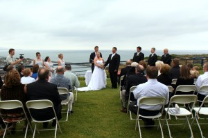 Mark officiating wedding at chart house dana point
