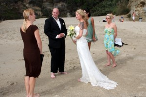 Orange County Beach Wedding in Laguna at Table Rock Terri Linzmeier officiant