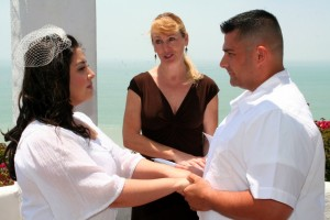 Orange County Wedding Ceremony at Palisades Gazebo in Dana Point Terri Linzmeier minister 1