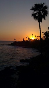 view from Heisler Park gazebo by Las Brisas restaurant at sunset